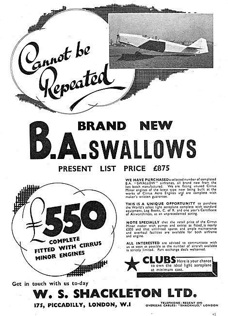 W.S.Shackleton - Aircraft Sales: BA Swallows