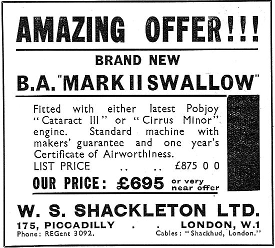 W.S.Shackleton - Aircraft Sales