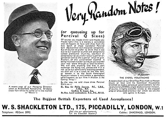 W.S.Shackleton - Aircraft Sales: Percival Q6