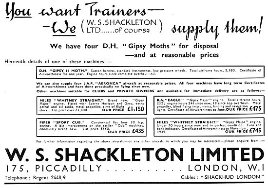 W.S.Shackleton. Aircraft Sales, Services & Brokerage. Spares