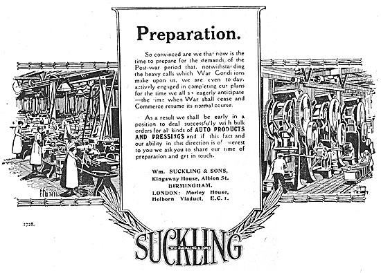 W.Suckling & Sons - Aeronautical Stampings & Repetition Work 1918