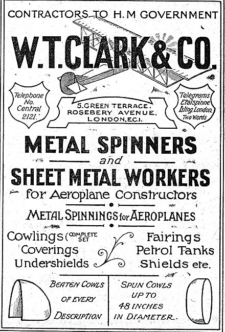 W.T.Clark. Green Terrace, Roseberry Ave. Aero Sheet Metal Work