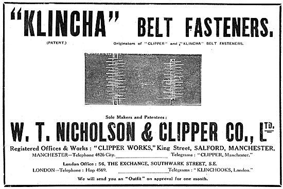 W.T.Nicholson & Clipper - KLINCHA & CLIPPER Belt Fasteners