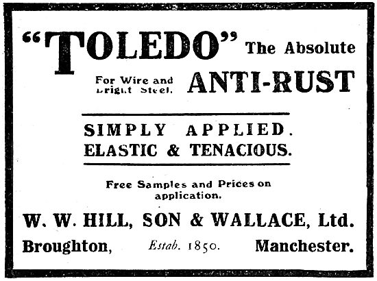 W.W.Hill, Son & Wallace . TOLEDO Anti-Rust Steels. 1919
