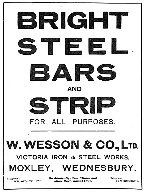 W.Wesson & Co. Victoria Iron & Steel Works. Moxley, Wednesbury