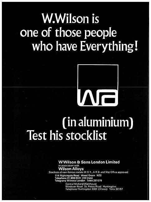 W.Wilson Aluminium Stockists - Wilson Alloys Non-Ferrous Metals