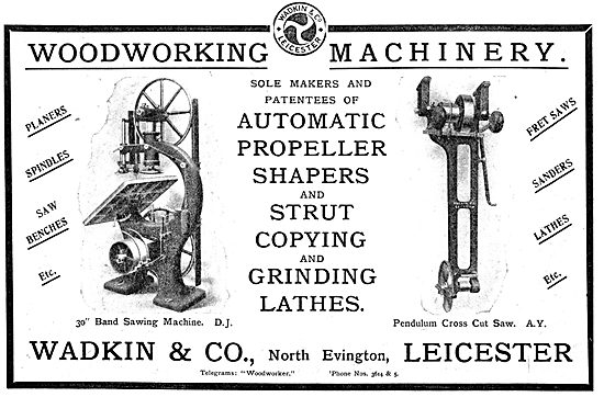 WW1 Wadkin Woodworking Machinery 1916