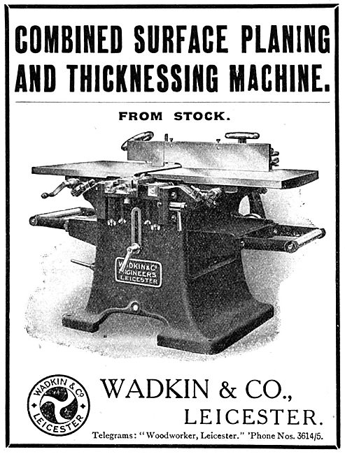 Wadkin Combined Planing & Thicknessing Machine 1916