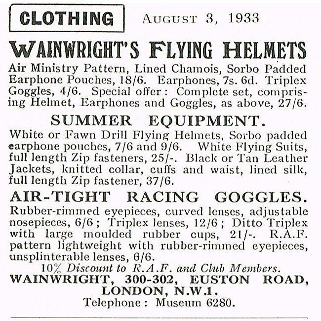 Wainwrights Flying Helmets And Goggles