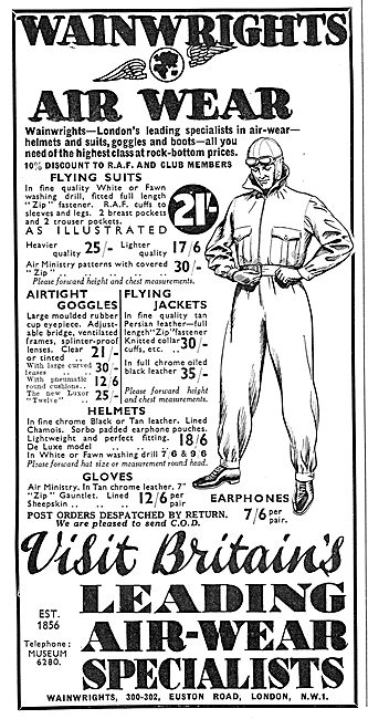 Wainwright's Air Wear: Flying Suits 21/-