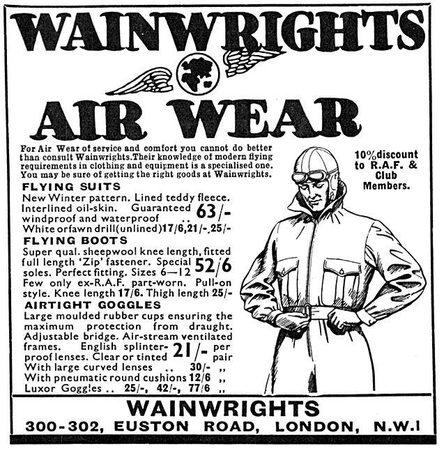 Wainwright's Air Wear Flying Clothing 1934