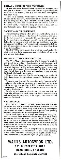 Wallis Autogyros WA-116