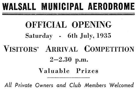 Walsall Aerodrome Official Opening 6th July 1935