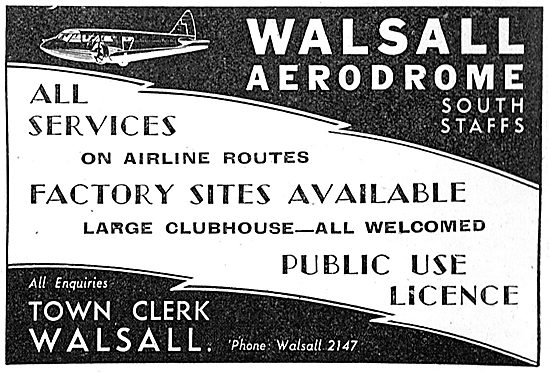 Walsall Aerodrome South Staffs - Services Available.