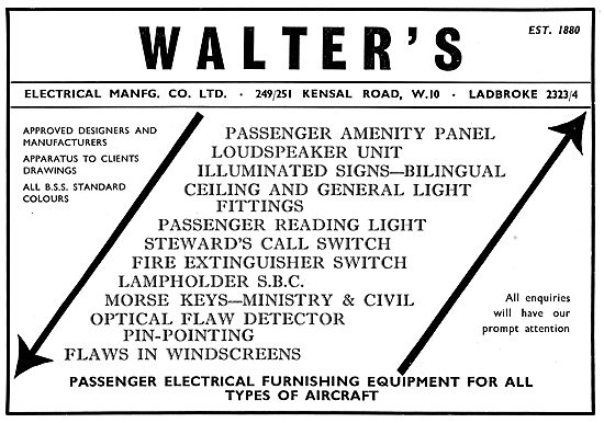 Walters Electrical Manfg - Aircraft Electrical Components