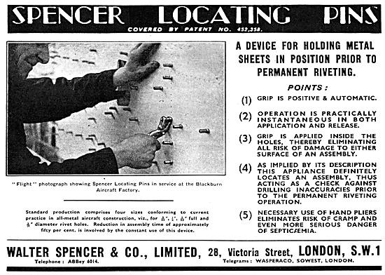 Walter Spencer. Spencer Locating Pins