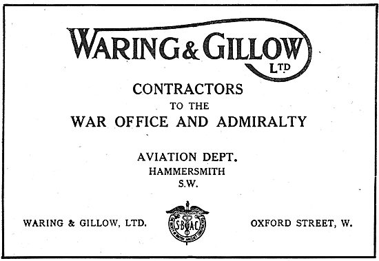 Waring & Gillow Aviation Dept. Contractors To The War Office