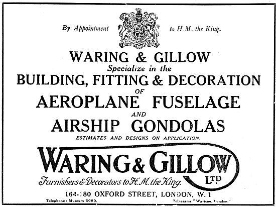 Waring & Gillow. - Aeronautical Engineers 1919 Advert