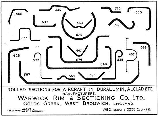 Warwick Rim Sheet Metal Work - Rolled Sections In Duralumin