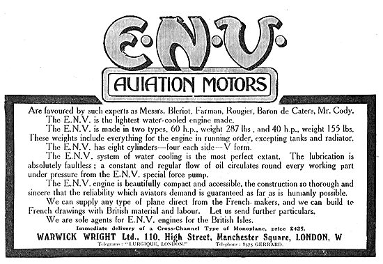 Warwick Wright ENV Water Cooled Aviation Motors 40 Or 60 HP
