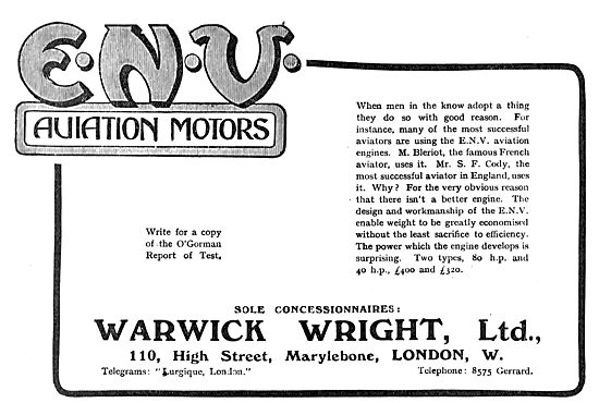 Warwick Wright ENV Aviation Motors. O'Gorman Test Report