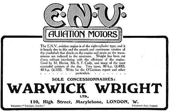 Warwick Wright Sole Concessionaires For ENV Aviation Motors