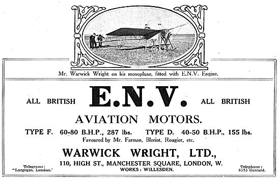 ENV Aviation Motor Type F 60-80 BHP 287 Lbs - Used By Bleriot