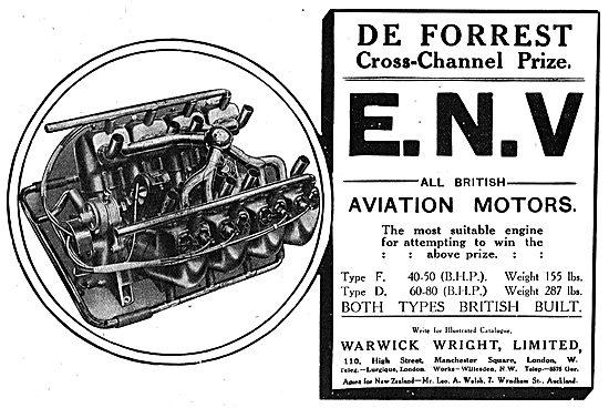 De Forrest Cross-Channel Prize Won On An ENV Aviation Motor.