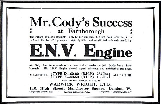 Cody Achieves Success At Farnborough With An ENV Engine