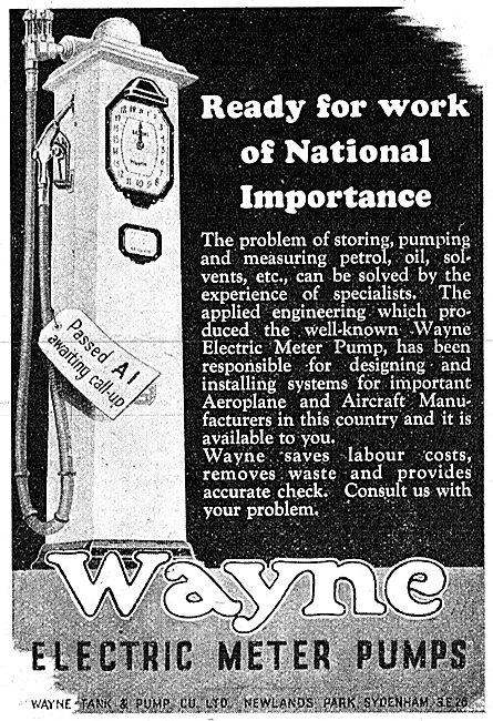 Wayne Tank & Pump Co. Wayne Electric Meter Pumps 1942