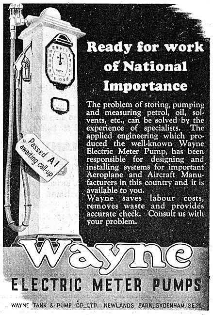 Wayne Fuel Storage, Metering & Dispensing Equipment 1943 Advert