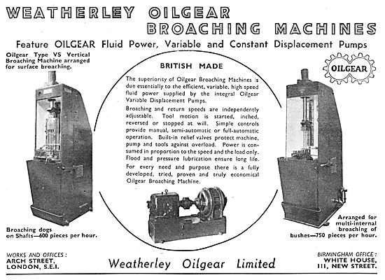 Weatherly Oilgear. Variable & Constant Displacement  Pumps