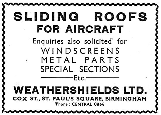 Weathershields Sliding Roofs For Aircraft