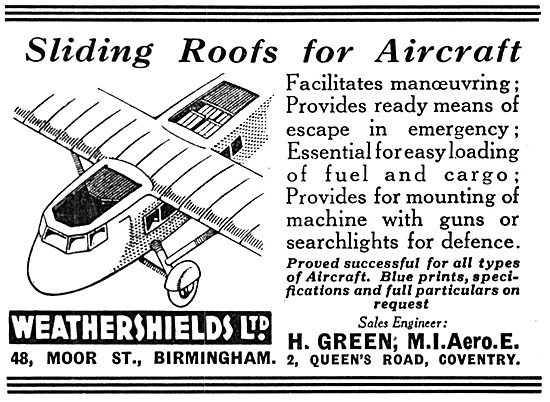 Weathershields Sliding Roofs For Aircraft 1935