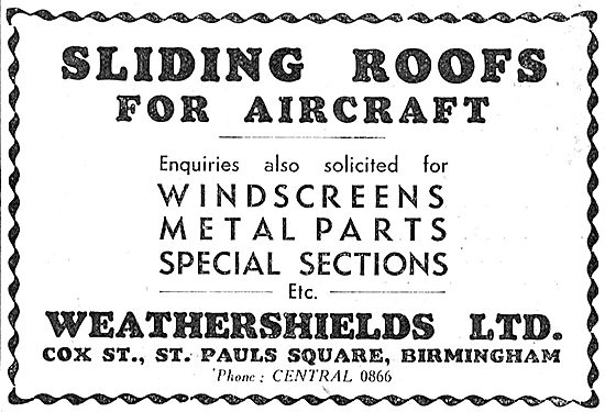 Weathershields Sliding Roofs For Aircaft