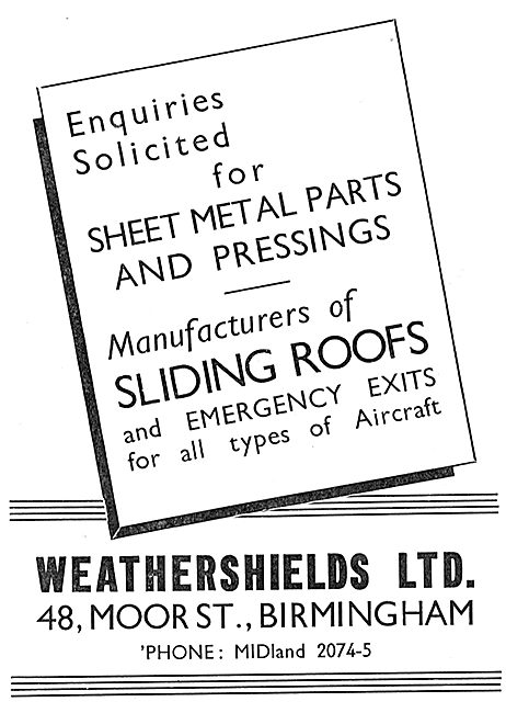 Weathershields - Aircraft Sheet Metal Parts & Pressings