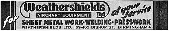 Weathershields Aircraft Parts & Sheet Metalwork