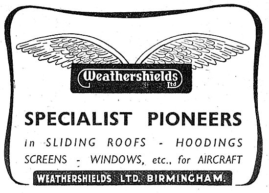 Weathershields Sliding Roofs, Hoodings & Screens For Aircraft