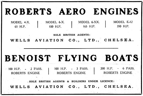 Wells Aviation - Roberts Aero Engines - Benoist Flying Boats