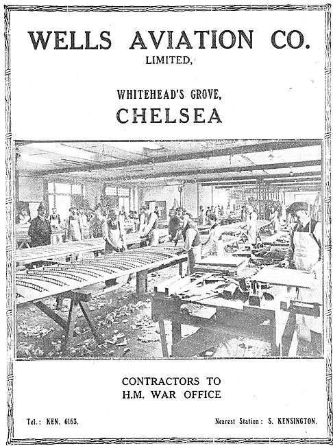 Wells Aviation Company. Whiteheads Grove, Chelsea. 1917