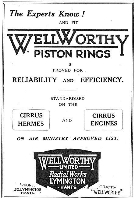 Wellworthy Aero Engine Piston Rings Standard On The Cirrus Hermes