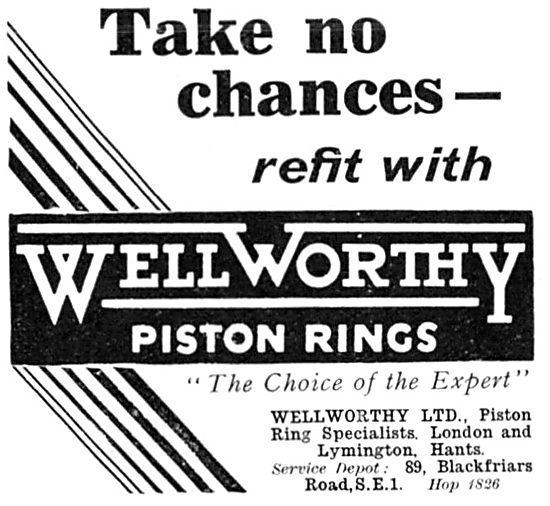 Wellworthy Piston Rings 1932