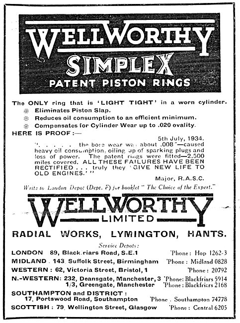 Wellworthy Simplex Piston Rings