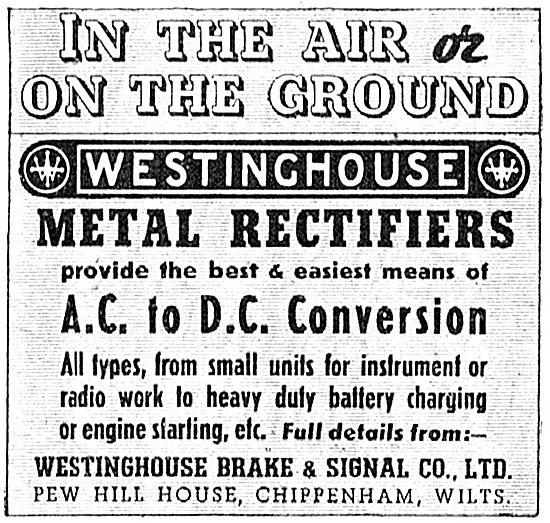 Westinghouse Brake & Signal : Metal Rectifiers