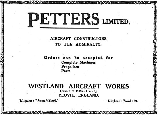 Petters Ltd. Aircraft Constructors Westland Aircraft Works Yeovil