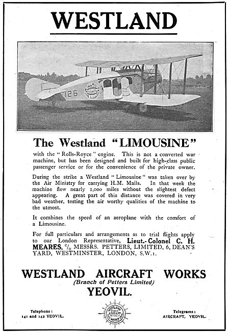 The Westland Limousine. Westland Aircraft Works. (Petters Ltd)