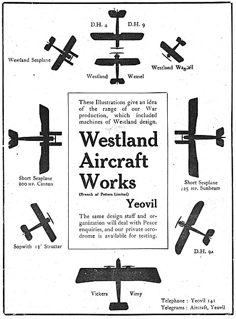 Westland Aircraft Works. Model Range. (Petters Ltd)