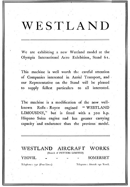 Westland Limousine On Show At Olympia 1920