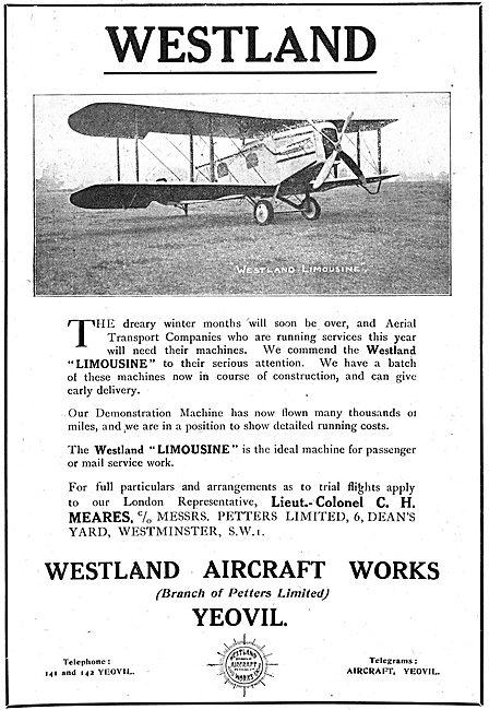 The Westland Limousine Commercial Aircraft