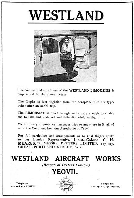 Westland Limousine 1920 Advert